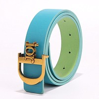 DIOR Newest Hot Sale Women Personality Multicolor Metal Buckle Leather Belt Blue