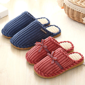 Couple Cotton Winter Lovely Ladies Anti-skid Slippers [9067740036]