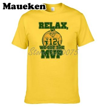 Men Relax we got the MVP 12 Aaron Rodgers Green Bay T-shirt Clothes Packers T Shirt Men's for fans gift o-neck tee W0315007