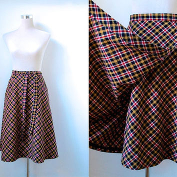 Preppy 1970's Plaid Skirt / Vintage / Red and Yellow Tartan / Checked Wrapover Skirt