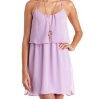 Flounce Racerback Chiffon Dress by Charlotte Russe