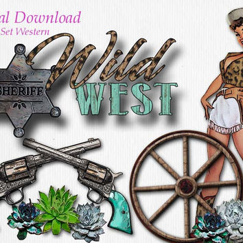 Western Theme Graphic Design Pack | 11 png images with transparent background, high resolution 300 dpi, Cowgirl Pin Up Wagon Wheel Guns Clip