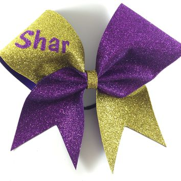 Two colors glitter bow with your name or your team name