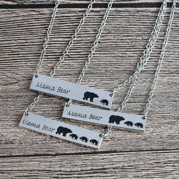 Mama Bear Stamped Tag Necklace