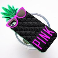 3D Cute Pineapple Pattern Soft Silicone Case Cover For iPhone 5 (Black)
