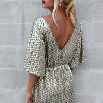 Gold Disco Bell Sleeve Dress