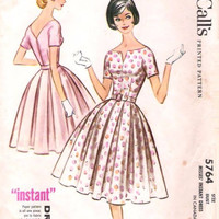 Vintage 50s 60s Sewing Pattern McCall's 5764 Rockabilly Style Garden Tea Dress Full Skirt Plus Size Full Figure Bust 38