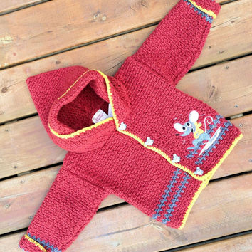 Children's Sweater Hoodie, Handmade Crochet mouse cardigan sweater with hood, Baby Sweater size 2