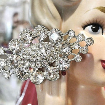 1950s Rhinestone Brooch Mid Century Brooch Hollywood Regency Glam High Fashion Design Faux Diamond Brooch Wedding Bride Bridal Christmas NYE
