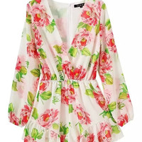 Summer Women's Fashion Stylish V-neck Floral Print Long Sleeve Jumpsuit [4919968580]