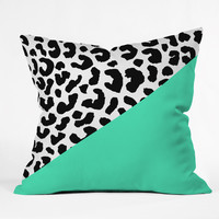 Rebecca Allen Leopard And Mint Throw Pillow