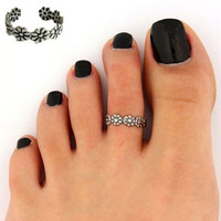 (2pcs )Women Lady Elegant Adjustable Antique Silver Metal Toe Ring Foot Beach Jewelry = 1958324740