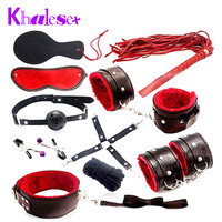10 Pcs set Leather Sex Bondage Fetish Kit Restraints Slave Sex Toys for Couples Bondage Handcuffs Fun Adult Games Sex Tools Sale
