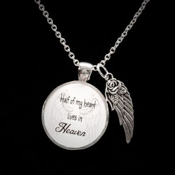 Half Of My Heart Lives In Heaven Guardian Angel Wing Quote Memory Necklace