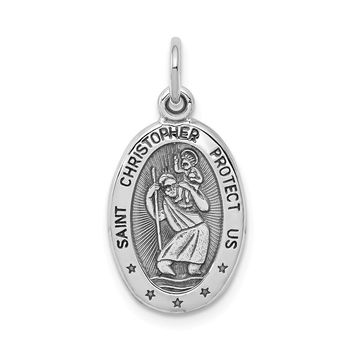 10k White Gold St. Christopher Medal - Religious Jewelry