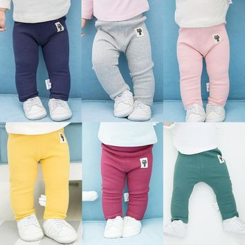 High Waist Cute Baby Pants Cotton Baby Girls Leggings Autumn Spring Baby Boys Pants Kids Trousers Newborn Baby Legggings Pant