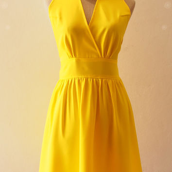 Sunshine Yellow Bridesmaid Dress Fit and Flare party Dress, Wedding Party Dress, Yellow Prom Dress, Tea Dress - XS-XL,custom