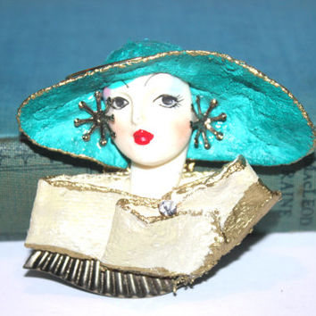 Art Nouveau Flapper Brooch, Lady Head, Bust, Teal, Glamour Girl, Large Hat, Clip, Pin, 1930s Jewelry, Vintage Plastics, Antique Alchemy,