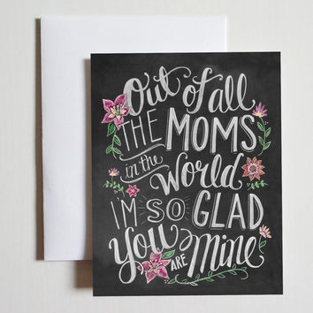 Mother's Day Card - Card For Mom - Chalkboard Art - Hand Lettering and Illustration By Valerie McKeehan- Chalk Art