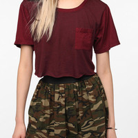 Truly Madly Deeply Mixed Fabric Cropped Tee