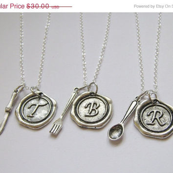 Summer Sale Save15% 3 Wax Seal Initial Best Friends Cutlery Fork Knife Spoon Necklaces BFF