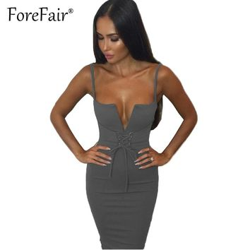 Forefair Sexy Sheath Strap Dress Summer Clubwear Party Dresses Women Lace-up V Neck Bow Slim Bodycon Dress