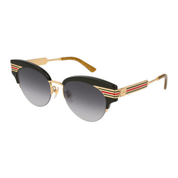 Gucci Metal & Acetate Cat-Eye Sylvie Web Sunglasses, Black