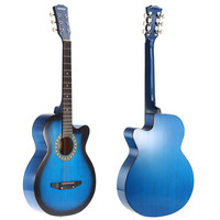"Blue Ammoon 38"" 6-String Cutaway Folk Acoustic Guitar with Bag"