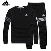 ADIDAS new trend casual men's sports suit two-piece black