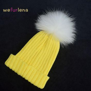 VONESC6 2016 Women Spring Winter Hats Beanies Knitted Cap Crochet Hat Raccoon Dog Fur Pompons Ear Protect Casual Cap Chapeu Feminino