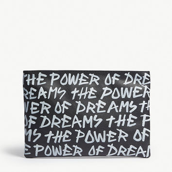BALENCIAGA Graffiti print leather pouch