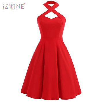 Hepburn Style Vintage Women Retro Sleeveless Dress 50's 60's Rockabilly Halter Lace-up Neck Party Dress