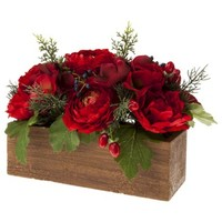 """Threshold™ Ranunculus and Berry Tabletop Arrangement in Wood Pot - 10"""""""