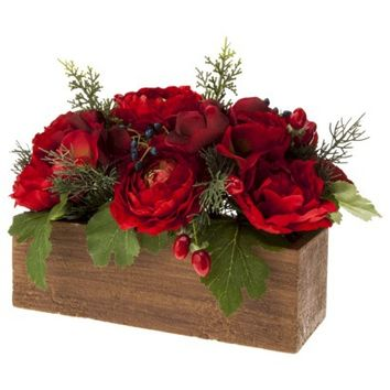 Threshold™ Ranunculus and Berry Tabletop Arrangement in Wood Pot - 10""