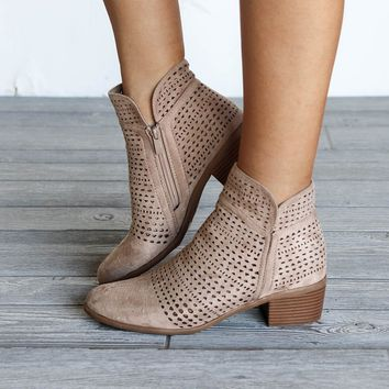 Spell Bound Taupe Suede Ankle Booties