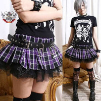 AVRIL Punk Puffy Pleated Mini Plaid Skirt/shorts by runnickyrun