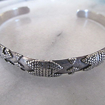 Sterling silver open cuff bangle tribal boho gypsy.