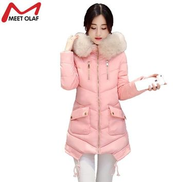 Winter Coat and Jacket Women Casual Hooded Wadded long Parkas Especially Female Cotton Padded Faux Fur Collar Coats Wadded YL375