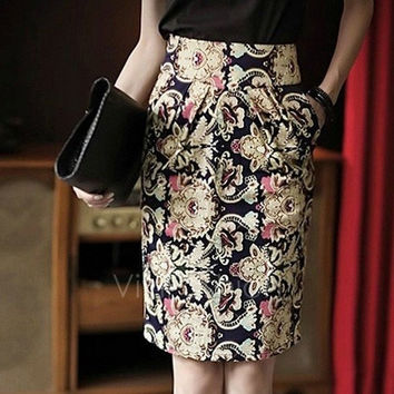 Women's Restore Ladies Casual Floral Printed Pencil Skirt S/M/L/XL VVF = 1946213892