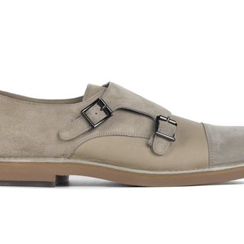 Brunello Cucinelli Mens Double Monk Strap Leather Suede Loafers