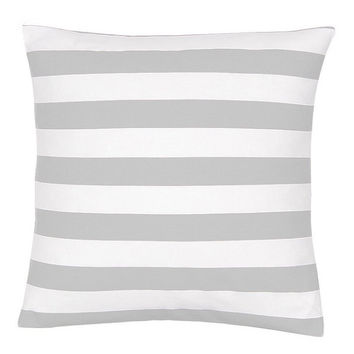 Gray and White Cotton Stripe Decorative Pillow Cover - Available In 3 Sizes