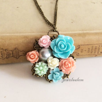 Wedding Bridal Accessories Necklace Turquoise Blue Peach Pink Coral Floral Necklace Bridesmaid Gift Romantic Shabby Chic Flower Collage SB