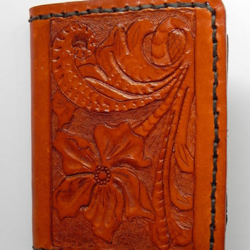 Handcrafted Carved Leather Mens Billfold Wallet Tooled Floral Bi-fold