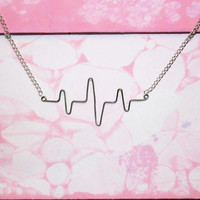 Heartbeat Necklace - Silver Wire Heart Beat Pulse - Romantic Gift For Her Under 20