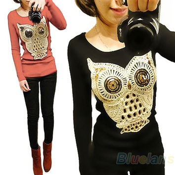 Womens Long Sleeve Chic Sequins the owl Print Knitwear Sweater, Sweaters Pullover Jumper