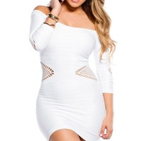 Winter White Body Con Side and Arm Cut-Outs 34 Sleeves Dress