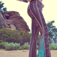 JUNO BELLS /// Boho Lux Divine Clothing /// Bohemian Poly Blend & Lace Bell Bottom Flare Pants