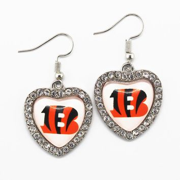 5pair/lot Crystal Heart Cincinnati Bengals Earrings for Women Fashion Jewelry Football Sports Earrings Women Jewelry Earring