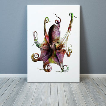 Nautical print Watercolor Octopus poster Dictionary art Modern decor