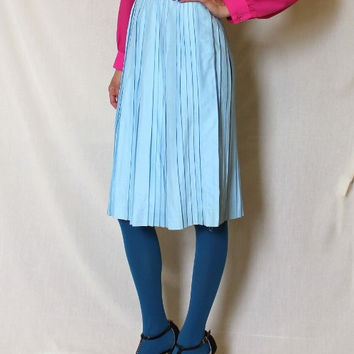 Vintage Powder Blue Pleated Skirt Pleats Babyblue 60s Schoolgirl Bobbi Brooks